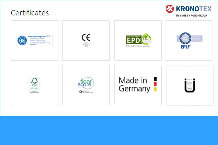 Chứng chỉ tiêu chuẩn quốc tế Kronotex